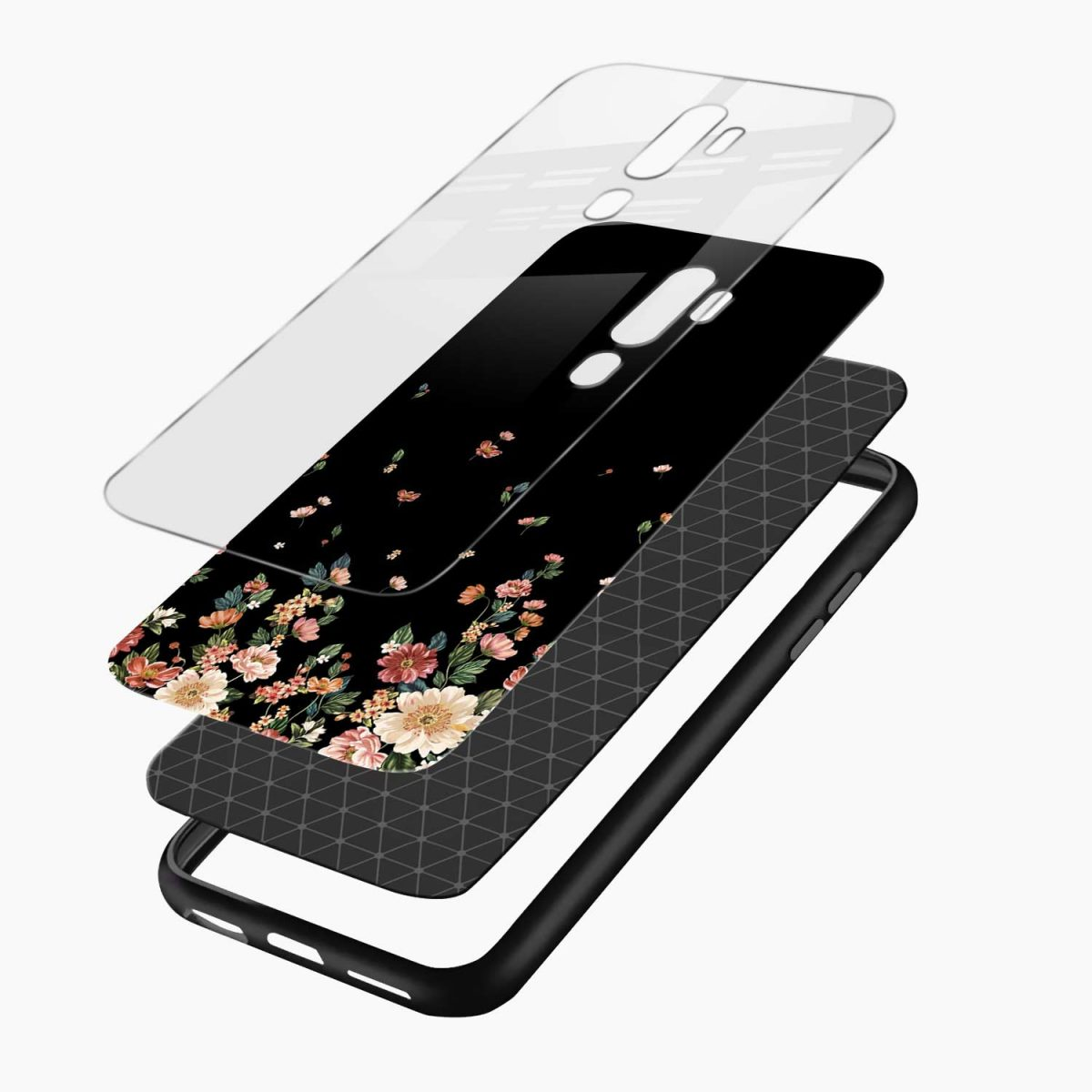graceful floral black colored layers view oppo a5 back cover 1