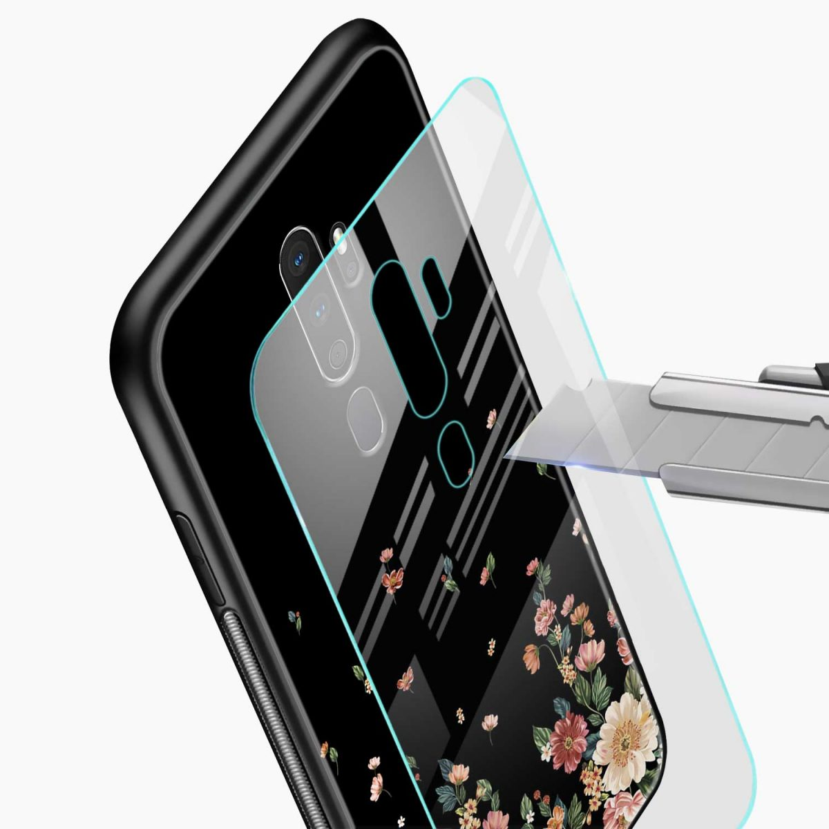 graceful floral black colored glass view oppo a5 back cover 1