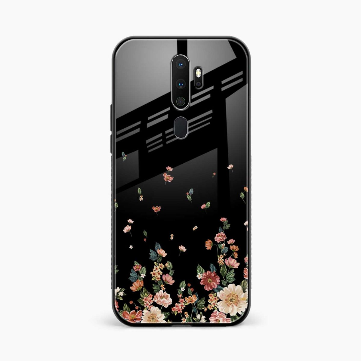 graceful floral black colored front view oppo a5 back cover