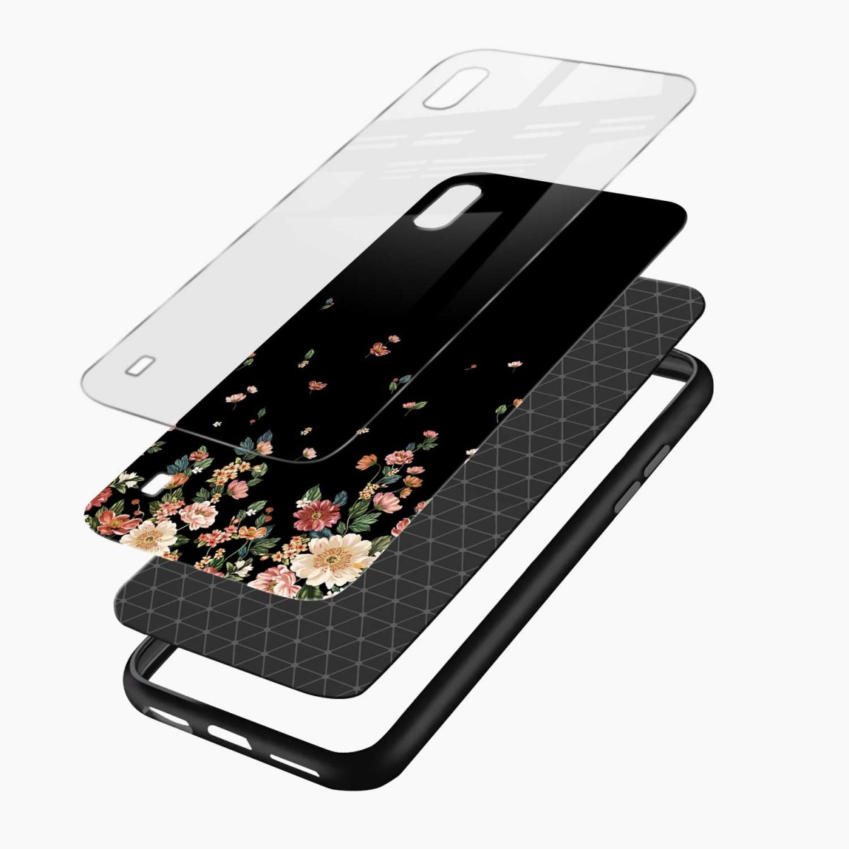 graceful floral black colored layers view samsung galaxy a10 back cover