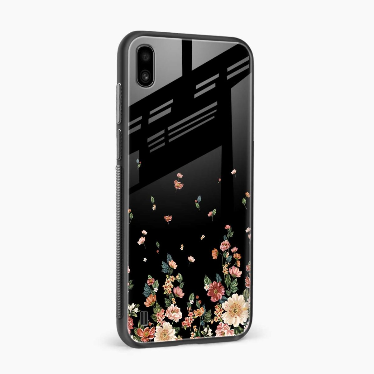 graceful floral black colored side view samsung galaxy a10 back cover