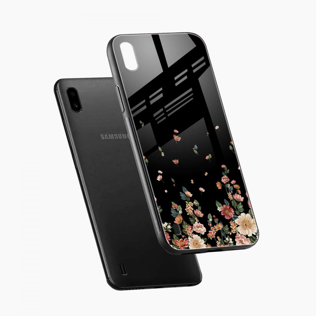 graceful floral black colored diagonal view samsung galaxy a10 back cover