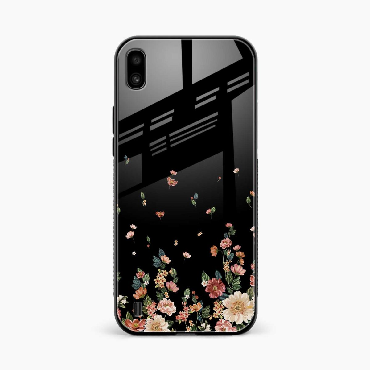 graceful floral black colored front view samsung galaxy a10 back cover