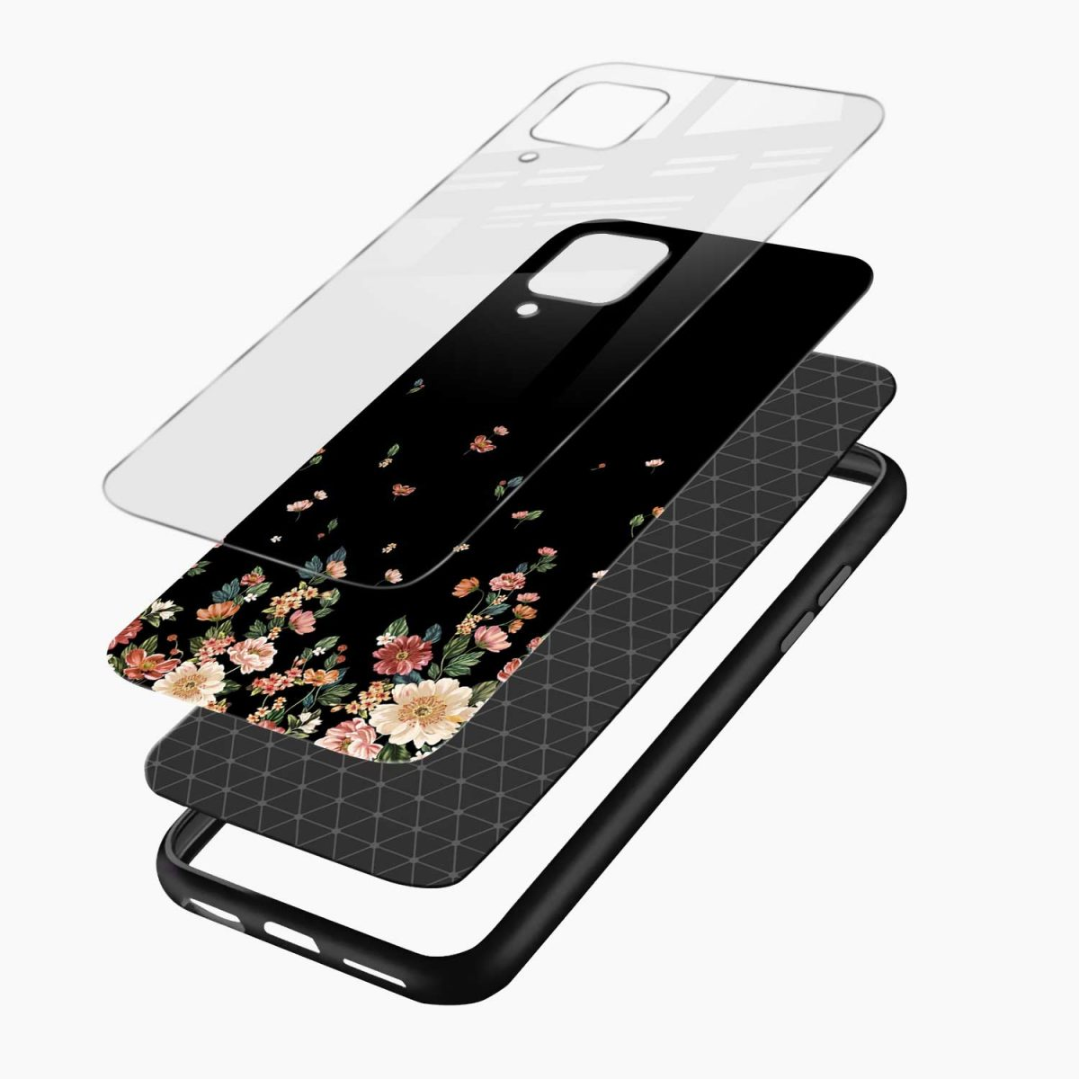 graceful floral black colored layers view samsung galaxy a12 back cover