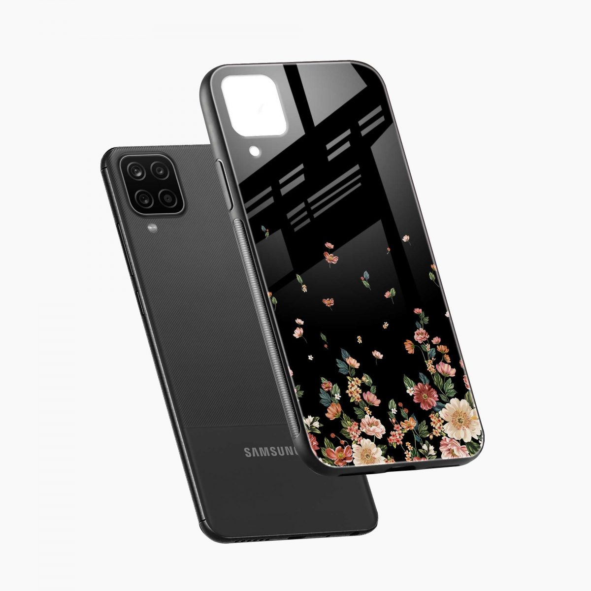 graceful floral black colored diagonal view samsung galaxy a12 back cover