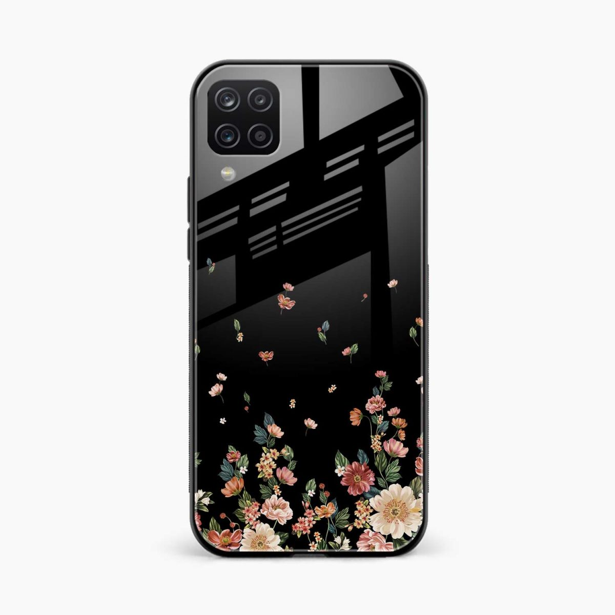 graceful floral black colored front view samsung galaxy a12 back cover