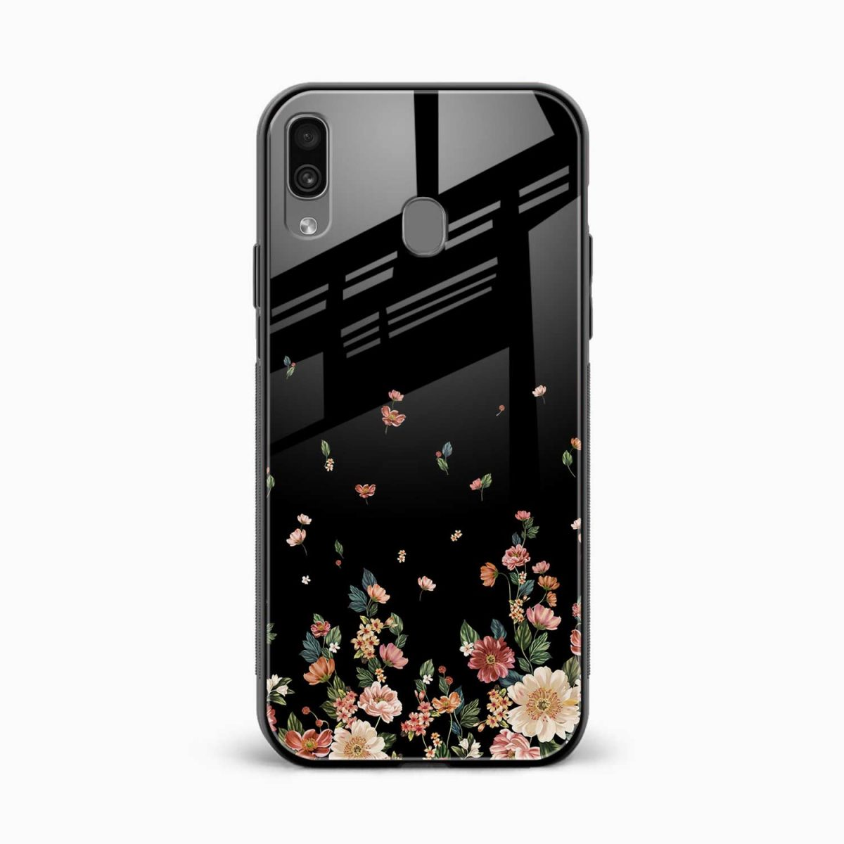 graceful floral black colored front view samsung galaxy a30 back cover