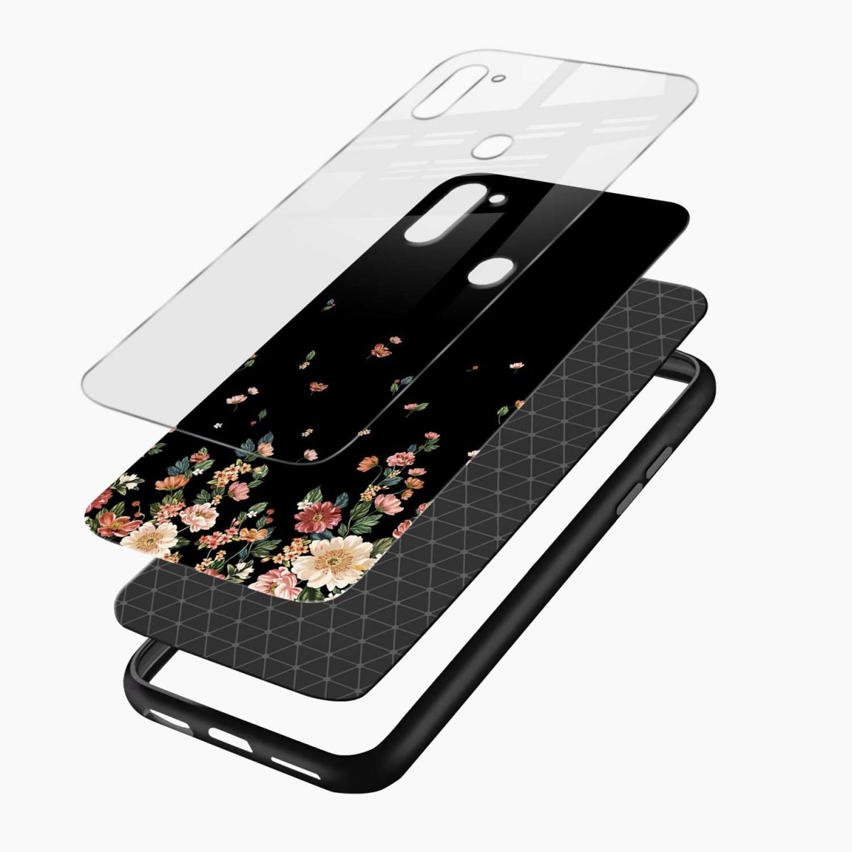 graceful floral black colored layers view samsung galaxy m11 back cover