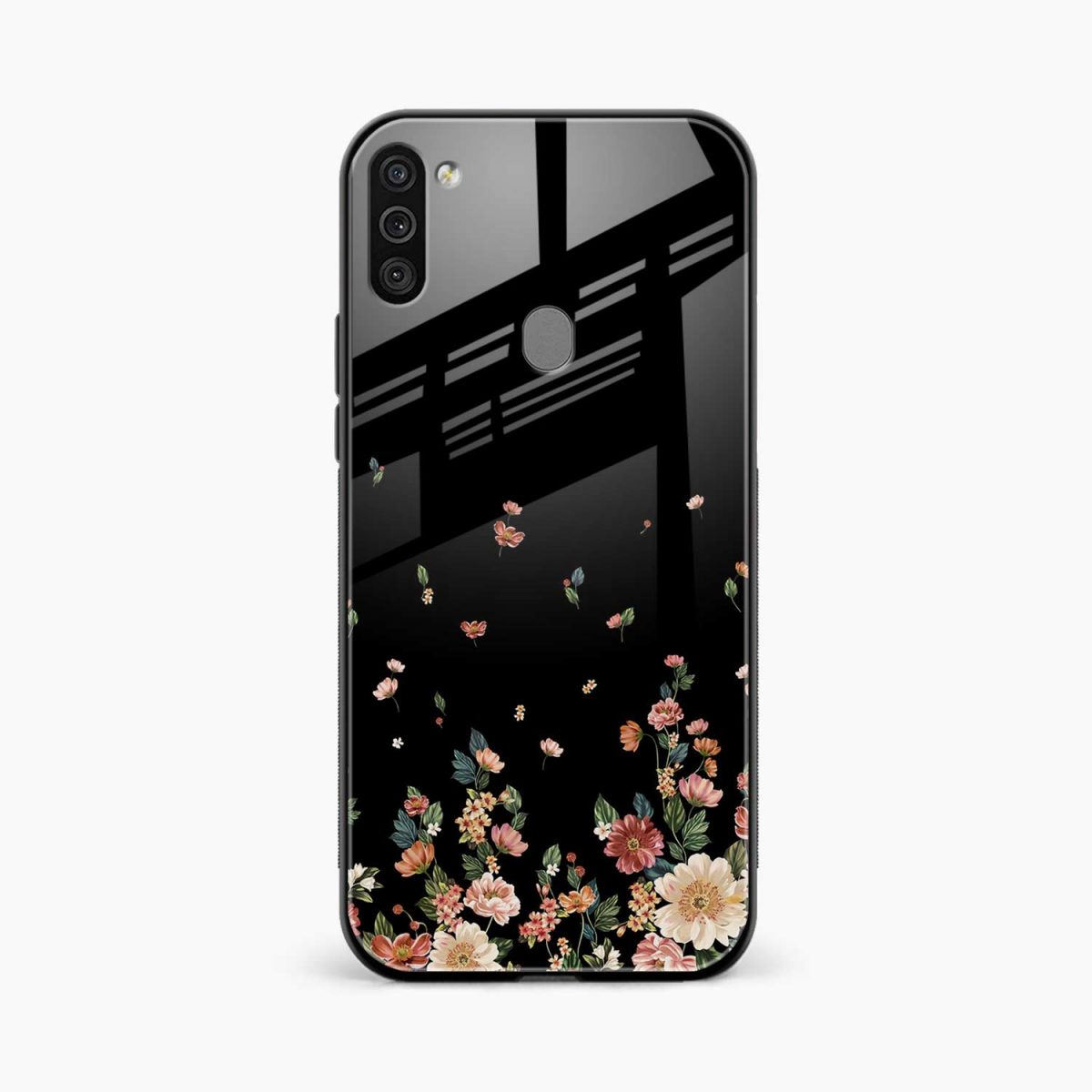 graceful floral black colored front view samsung galaxy m11 back cover