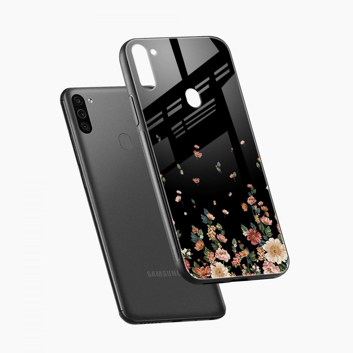 graceful floral black colored diagonal view samsung galaxy m11 back cover
