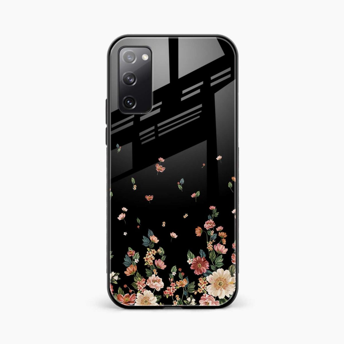 graceful floral black colored front view samsung galaxy s20 fe back cover