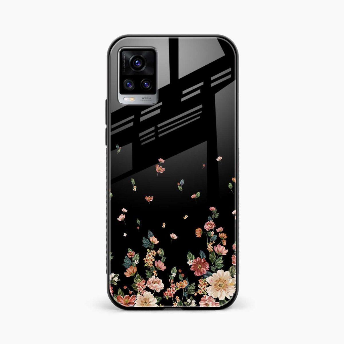 graceful floral black colored front view vivo v20 back cover