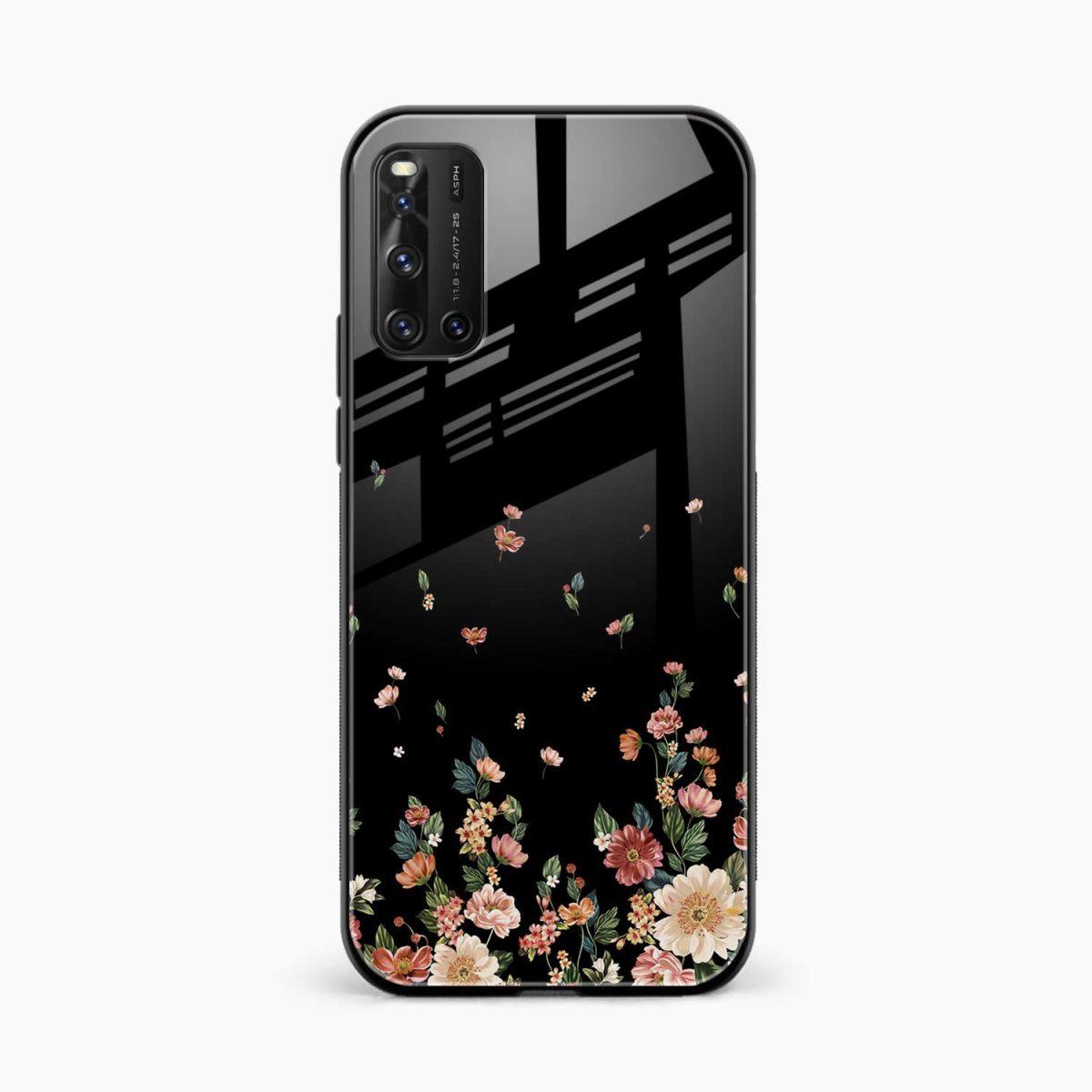 graceful floral black colored front view vivo v19 back cover