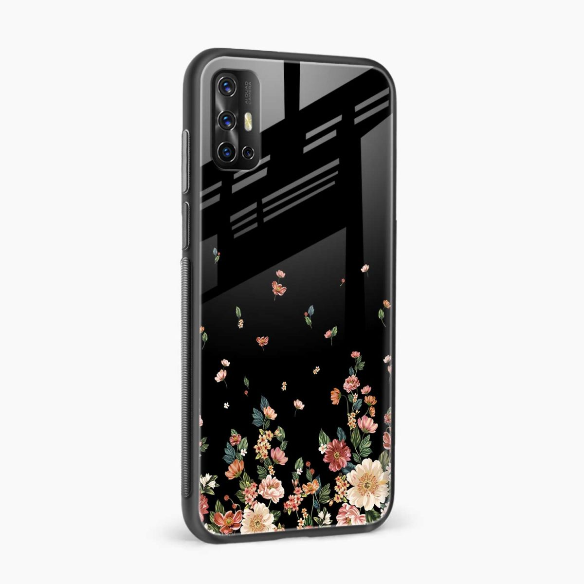graceful floral black colored side view vivo v17 back cove