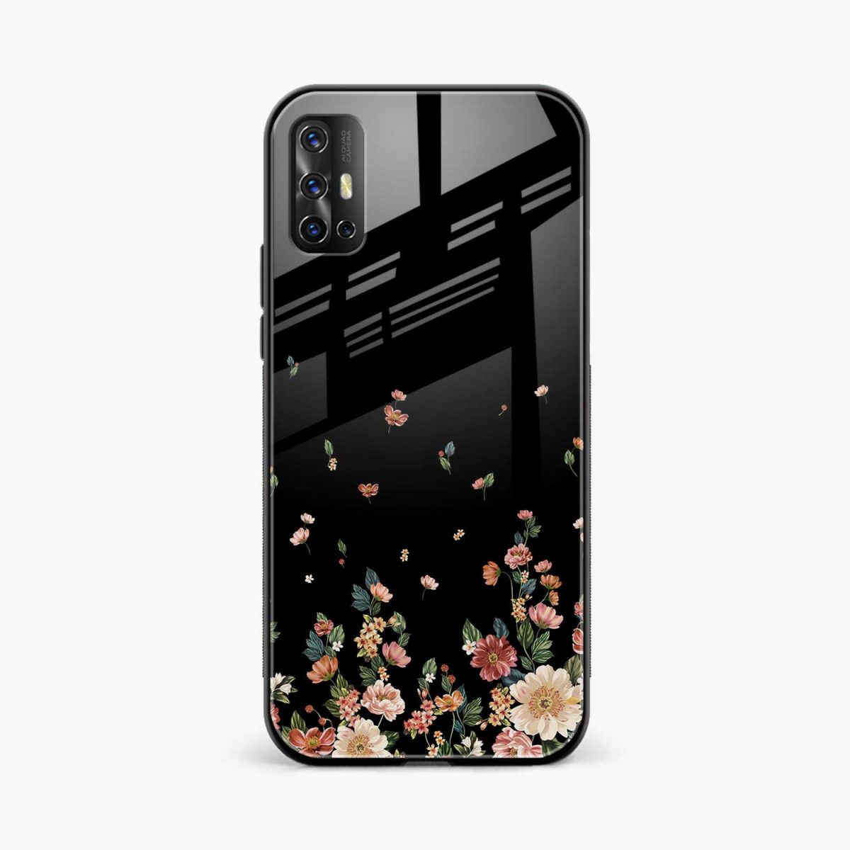 graceful floral black colored front view vivo v17 back cover