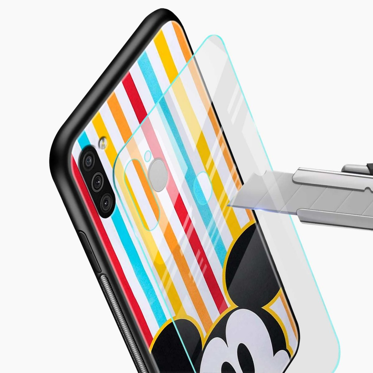rigid spy mickey mouse glass view samsung galaxy m11 back cover