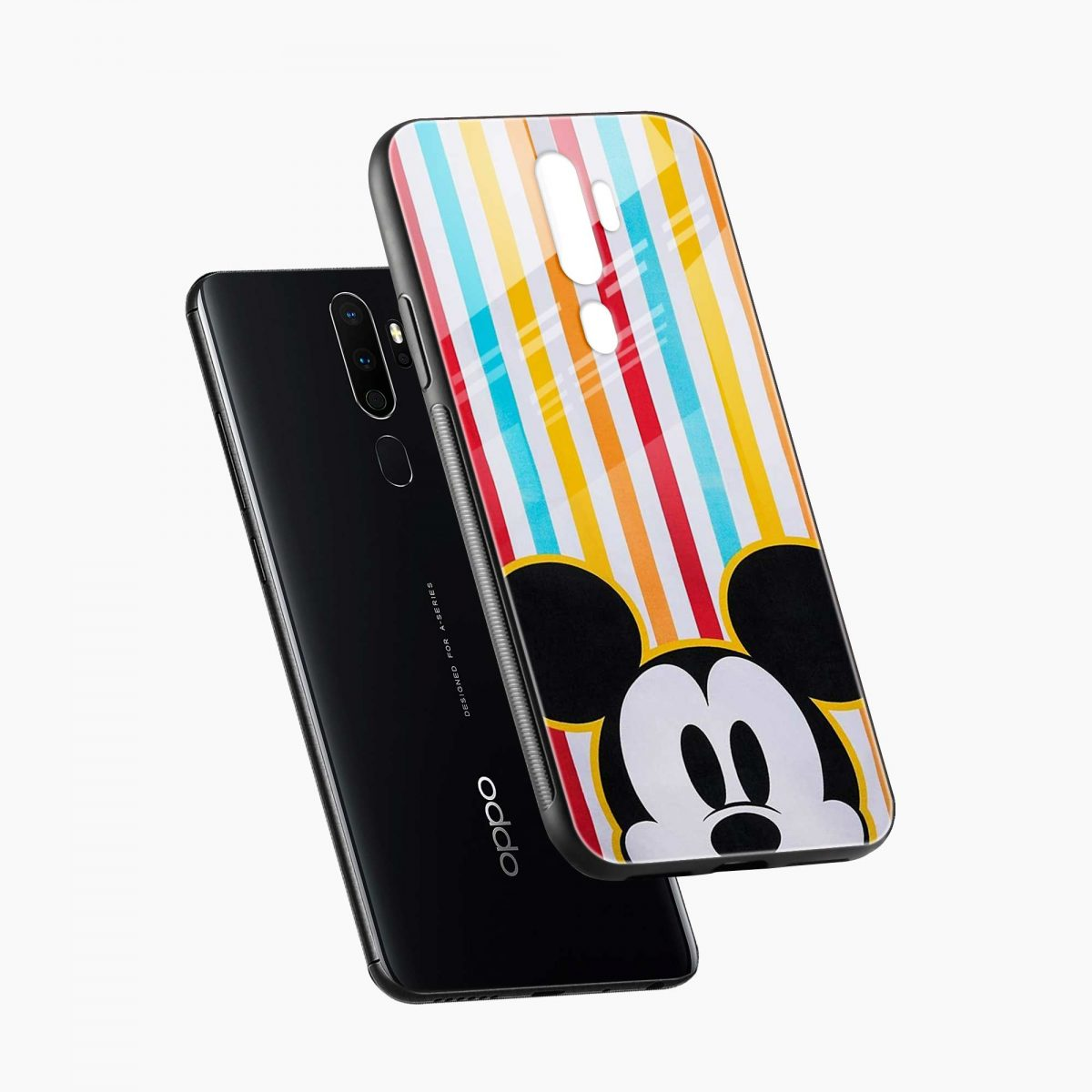 rigid spy mickey mouse diagonal view oppo a5 back cover