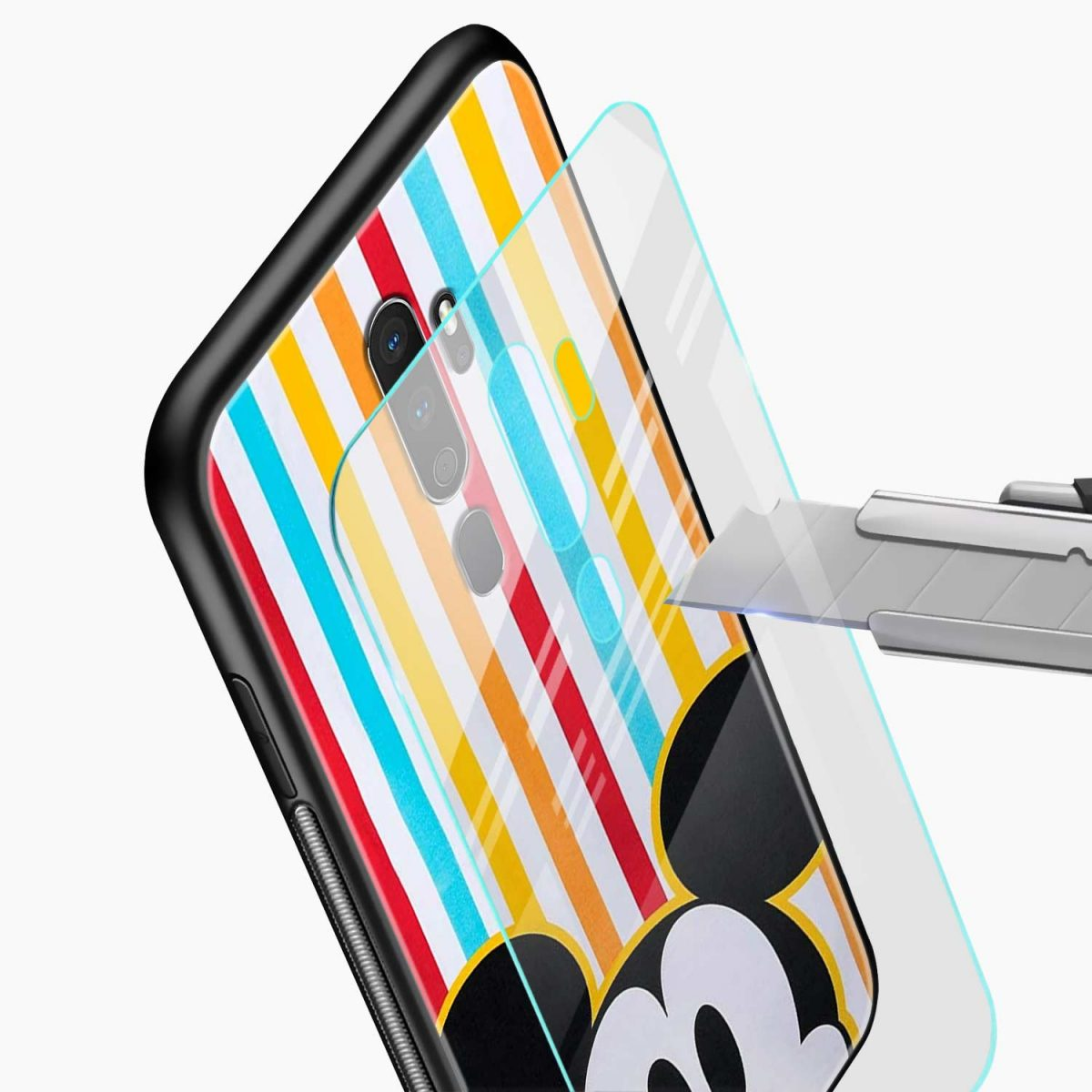 rigid spy mickey mouse glass view oppo a5 back cover