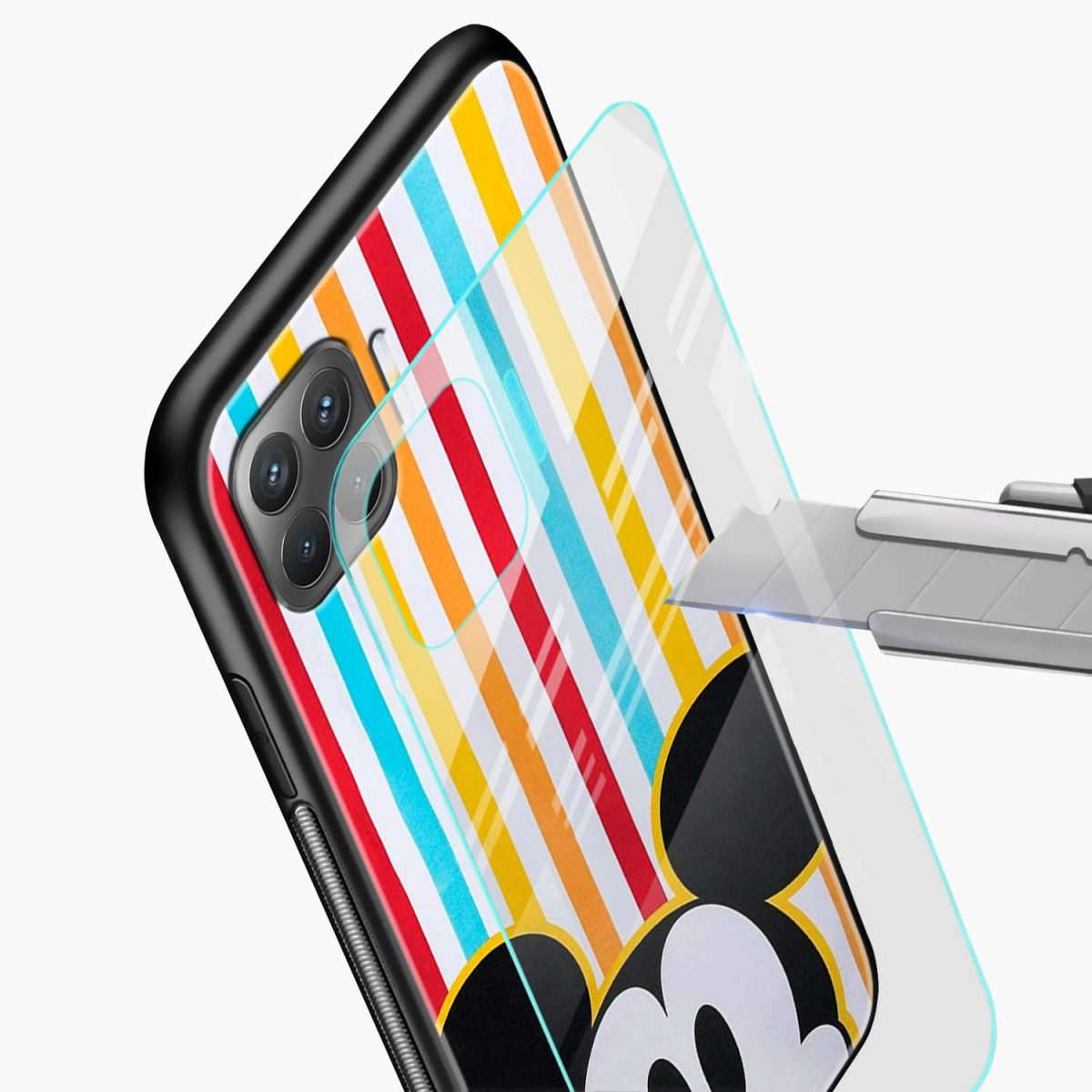 rigid spy mickey mouse glass view oppo f17 pro back cove