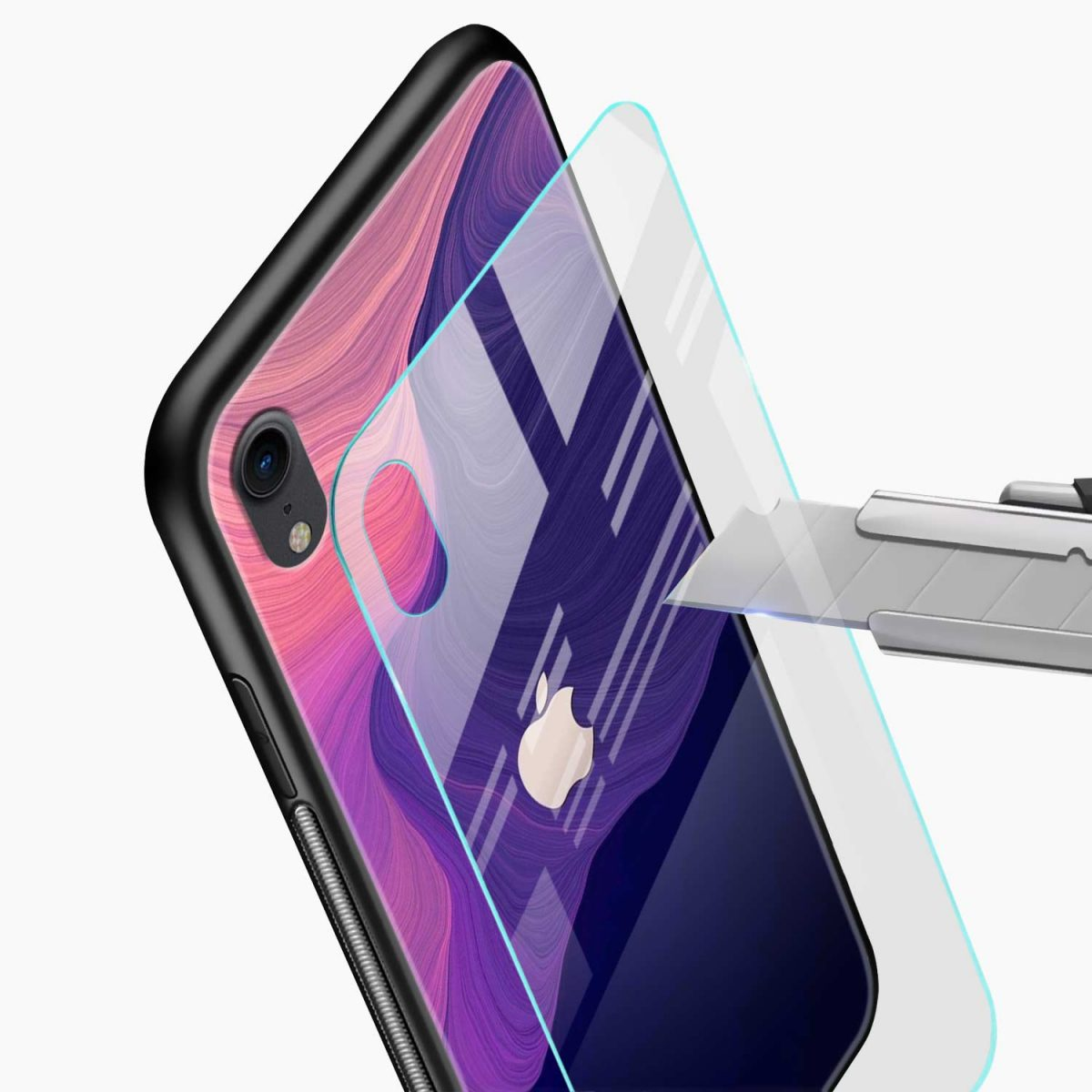 simply classic apple iphone xr back cover glass view