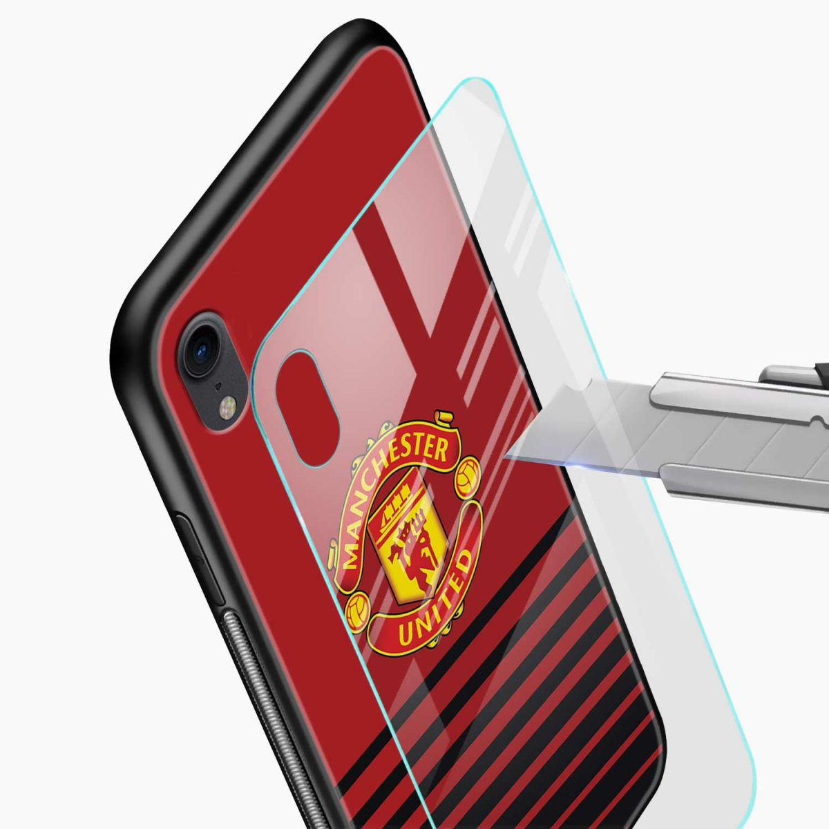 manchester united apple iphone xr back cover glass view