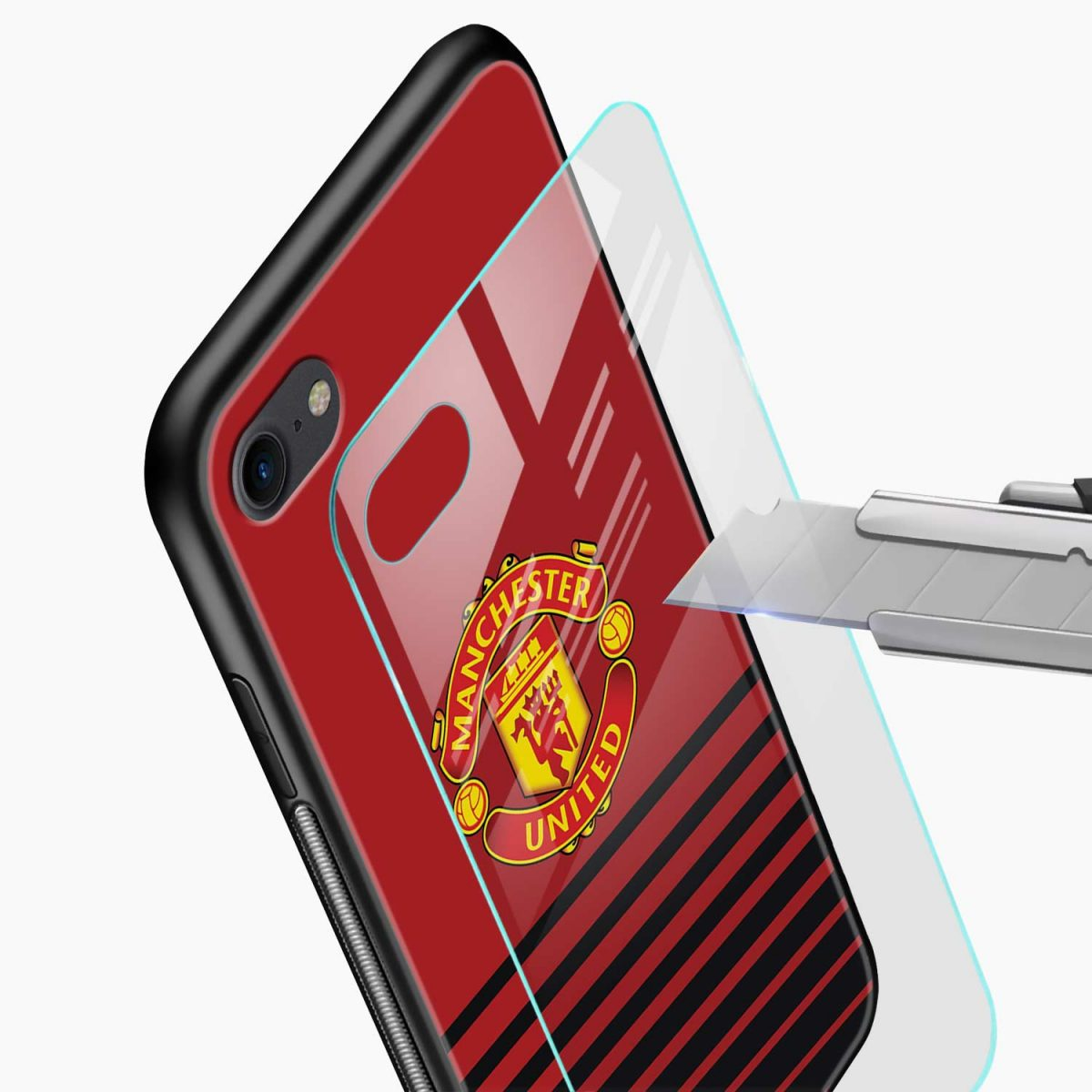 manchester united glass view apple iphone 6 7 8 se back cover