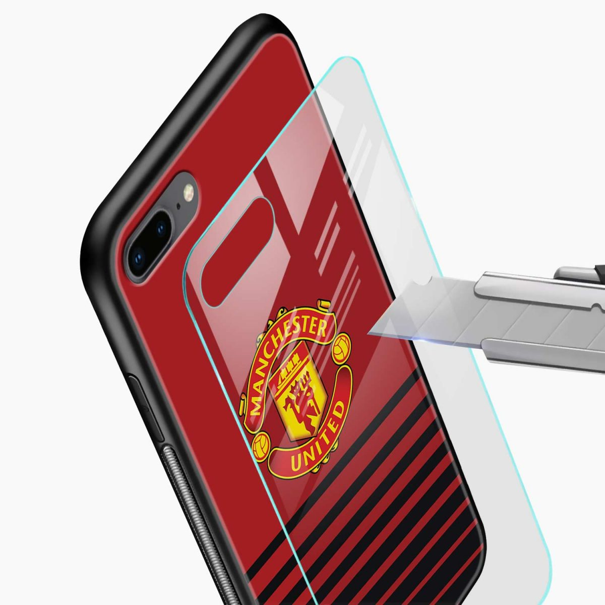 manchester united glass view apple iphone 7 8 plus back cover