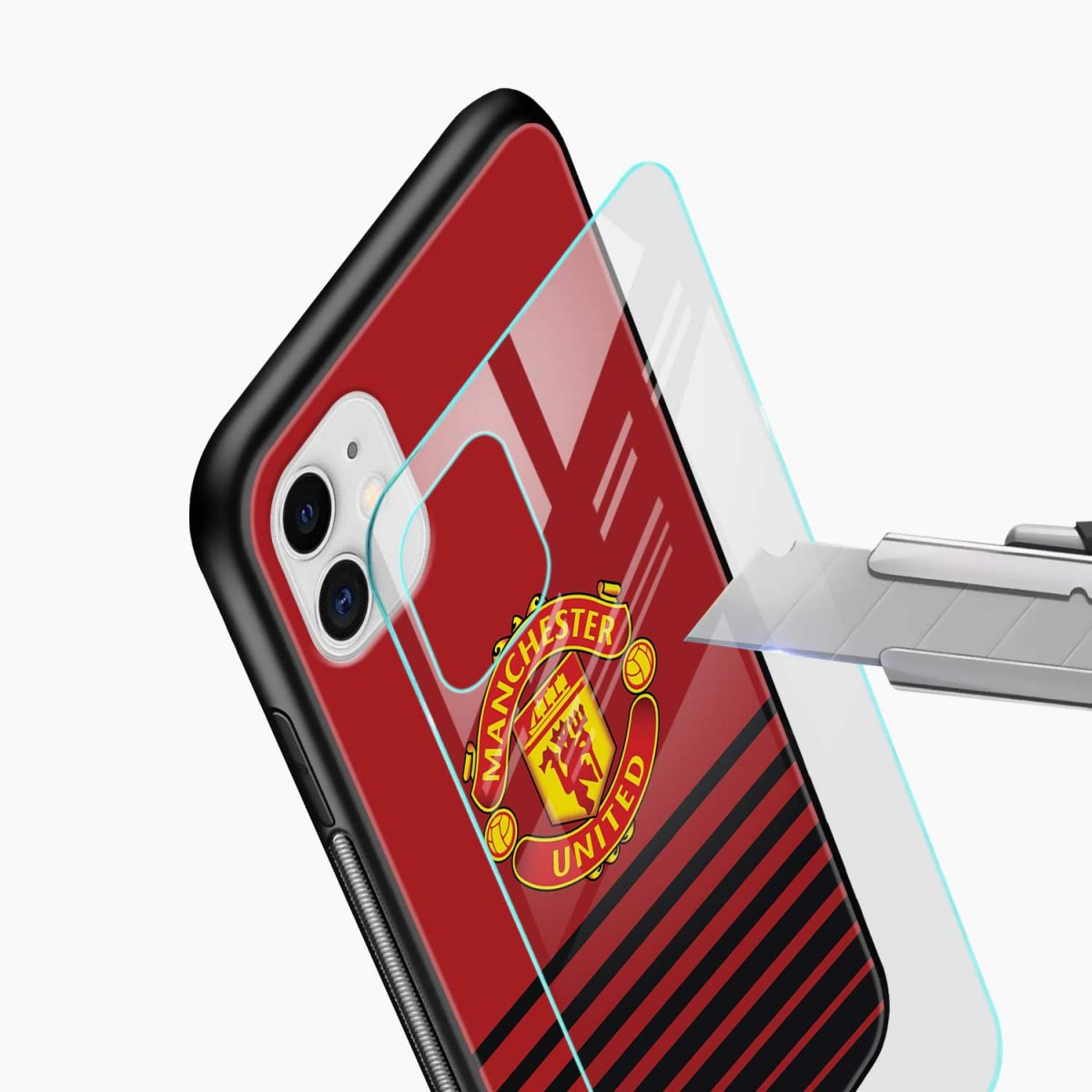 manchester united iphone back cover glass view