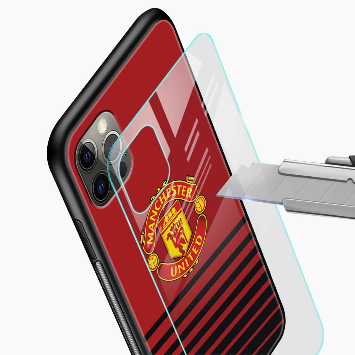 manchester united iphone pro back cover glass view
