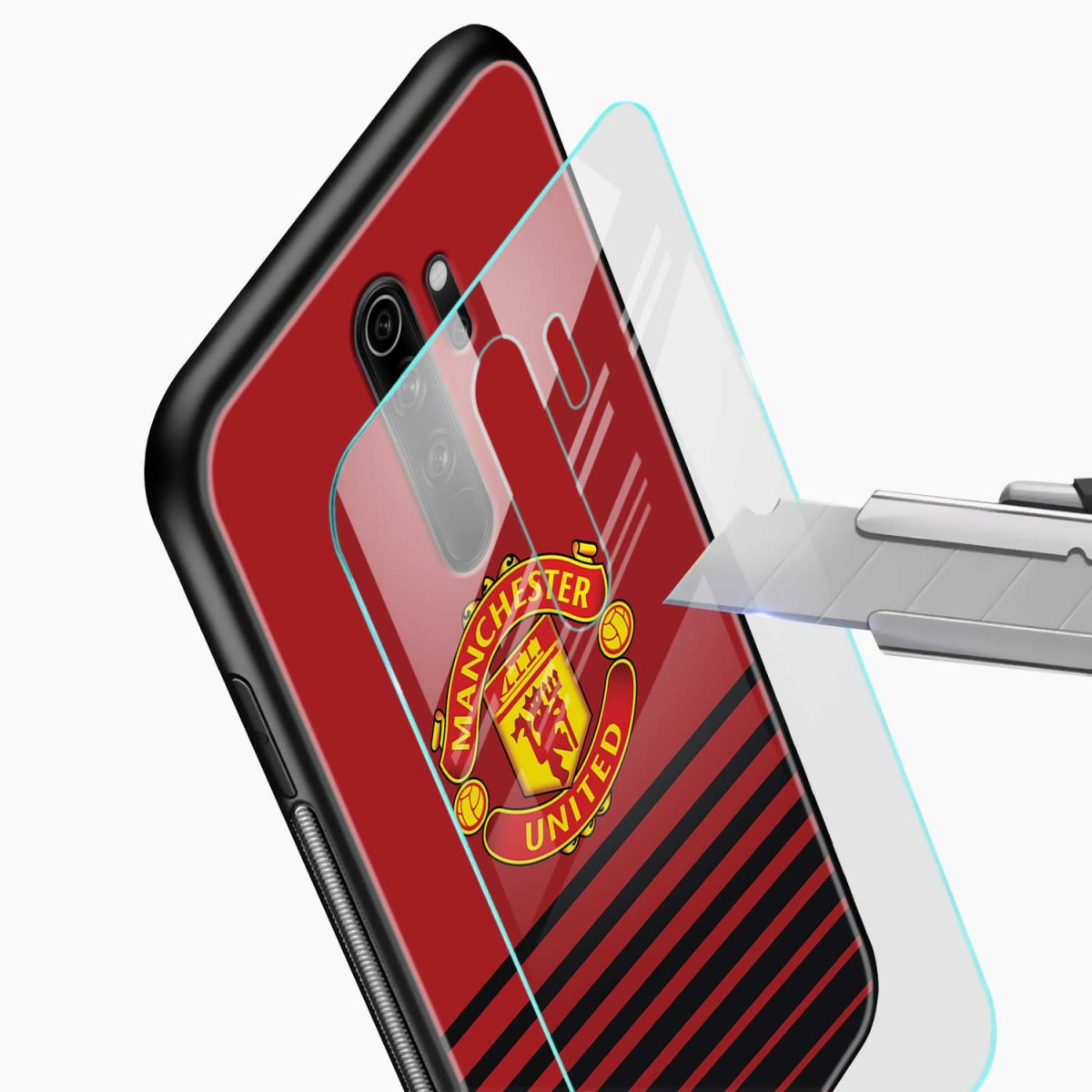 manchester united redmi note 8 pro back cover glass view