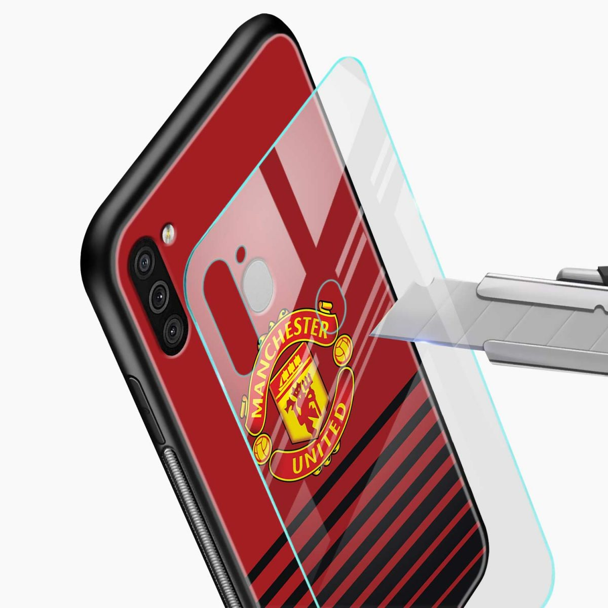 manchester united glass view samsung galaxy m11 back cover