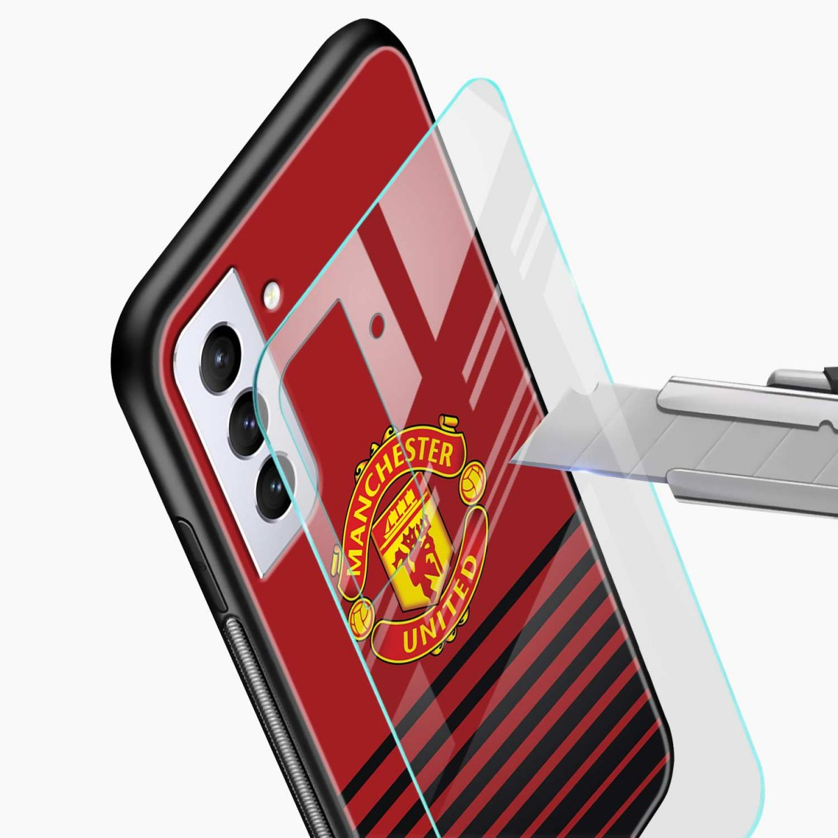 manchester united glass view samsung s21 plug back cover