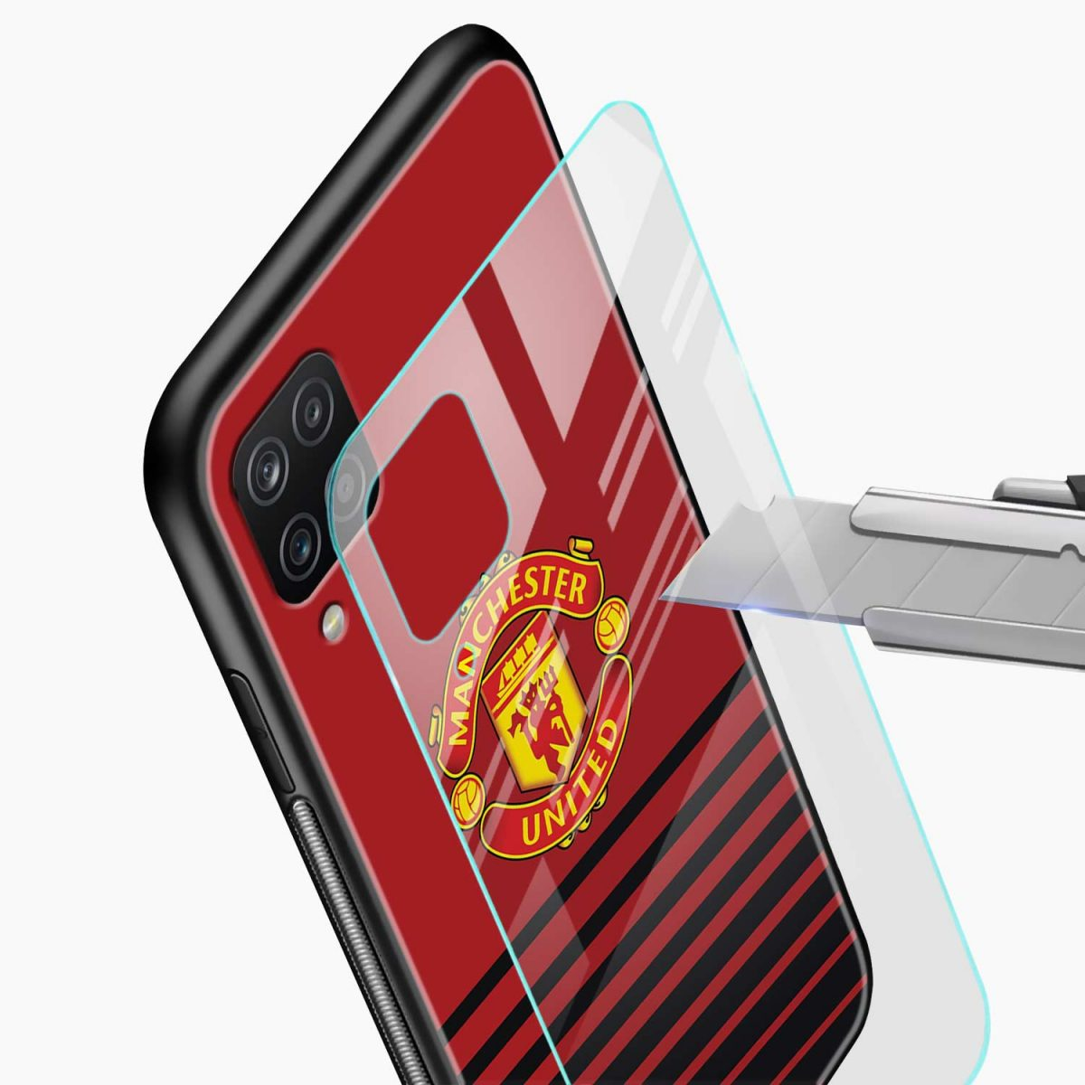 manchester united glass view samsung galaxy a12 back cover