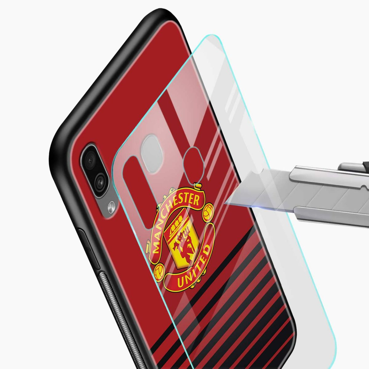 manchester united glass view samsung galaxy a30 back cover