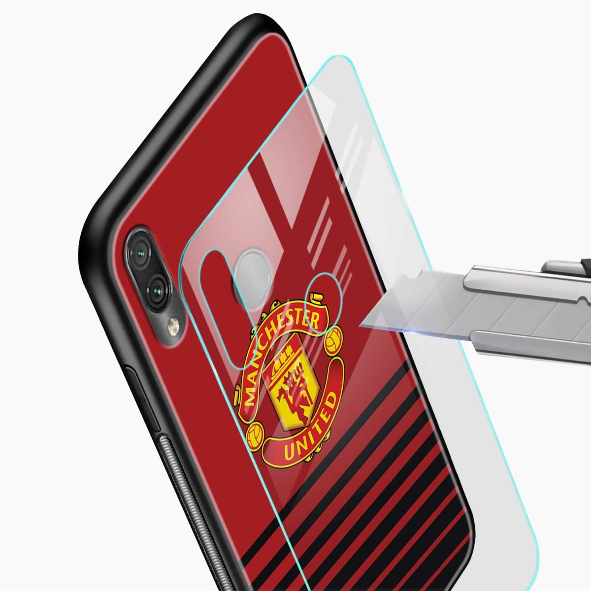 manchester united glass view redmi note7 back cover