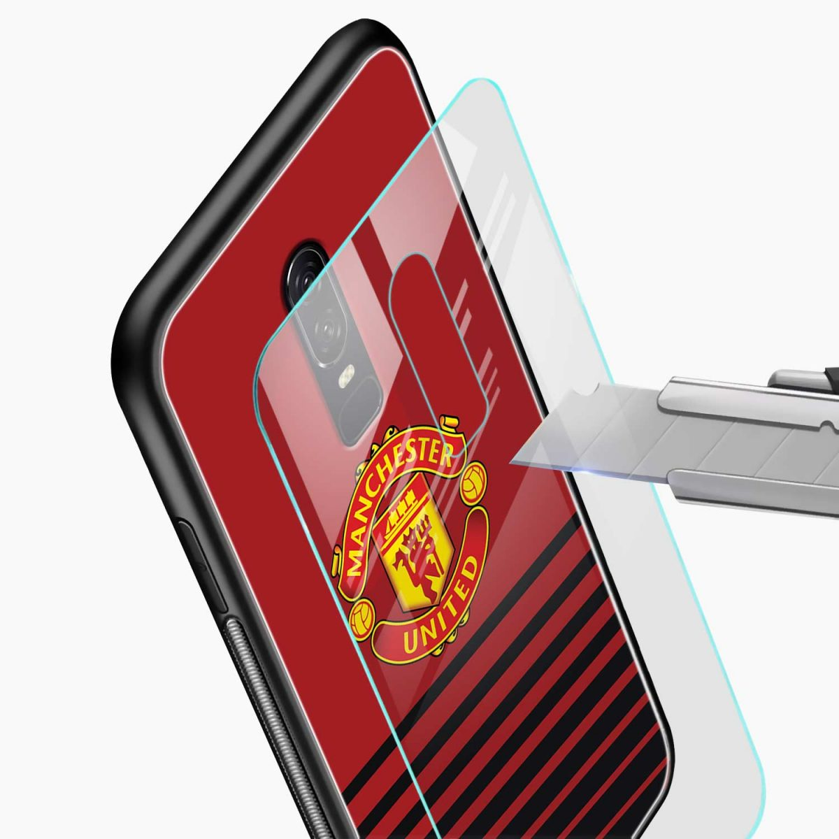 manchester united glass view oneplus 6 back cover