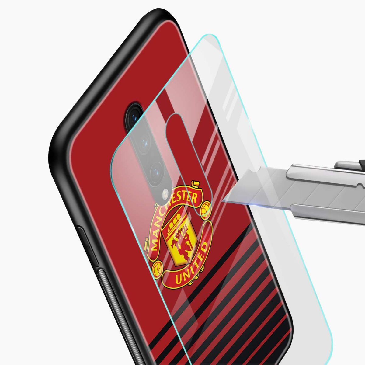 manchester united glass view oneplus 7 pro back cover