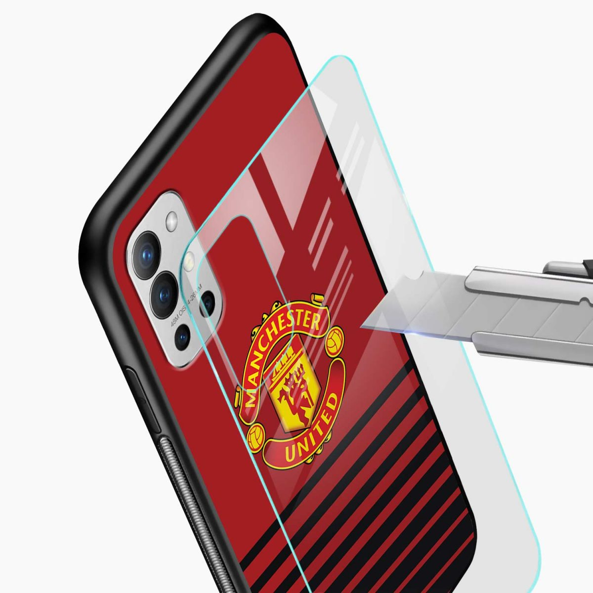 manchester united glass view oneplus 9r back cover