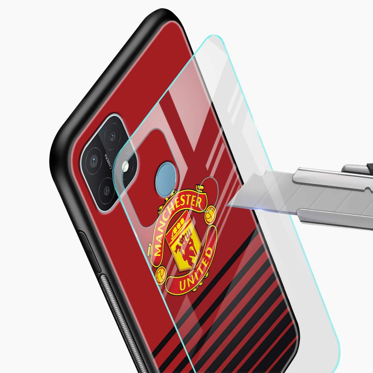 manchester united glass view oppo a15 back cover