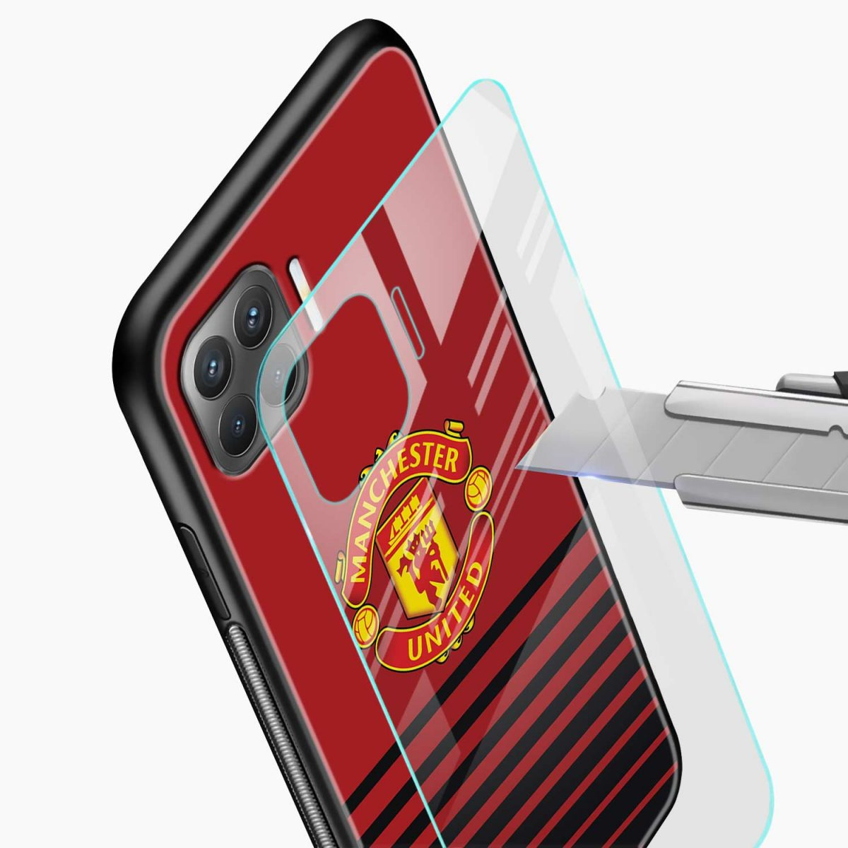 manchester united glass view oppo f17 pro back cove