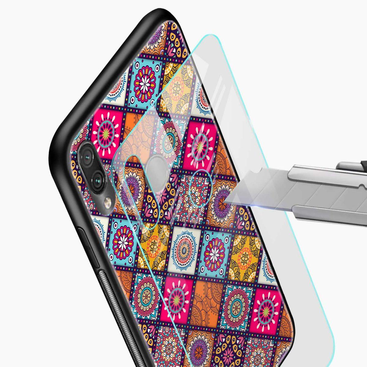 colorful rangoli glass view redmi note7 back cover