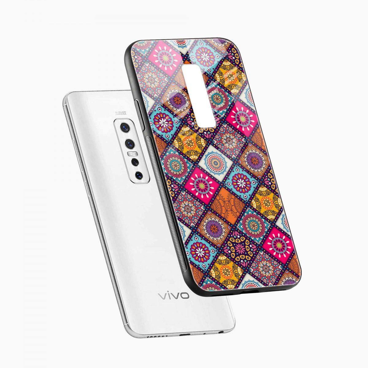 colorful rangoli diagonal view vivo v17 plug back cover