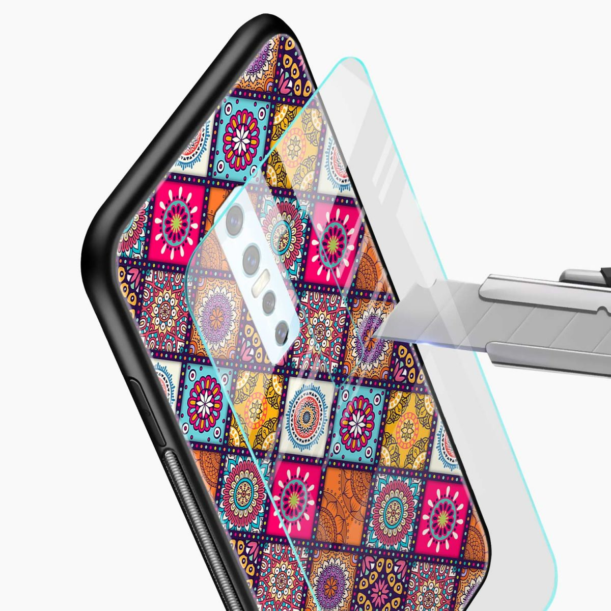 colorful rangoli glass view vivo v17 plug back cover