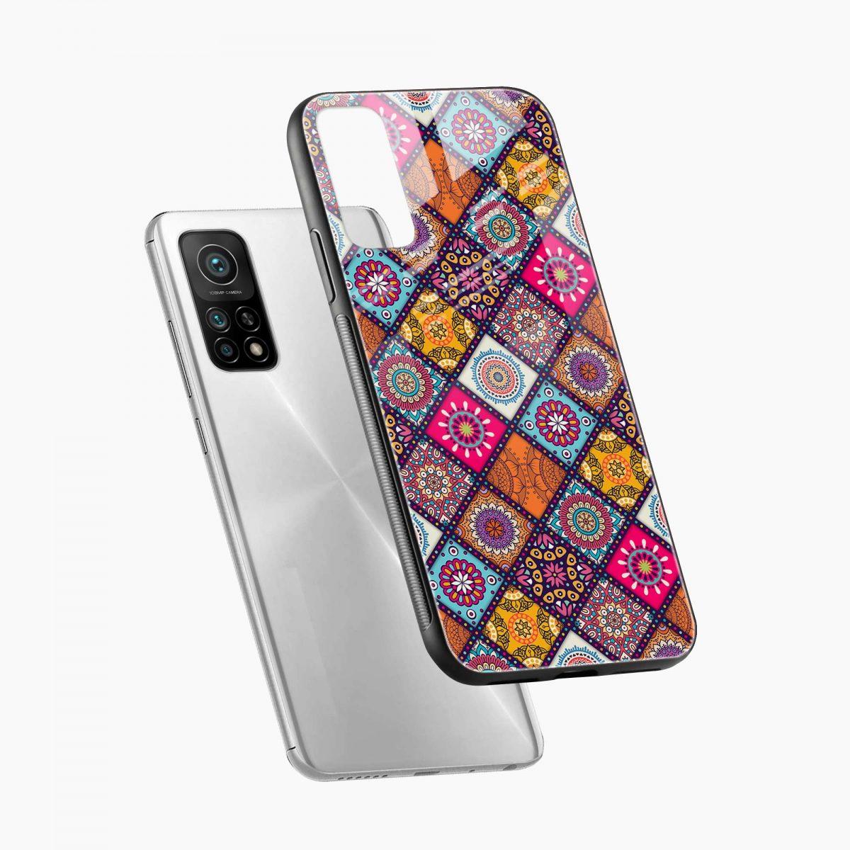 colorful rangoli xiaomi mi 10t pro back cover diagonal view