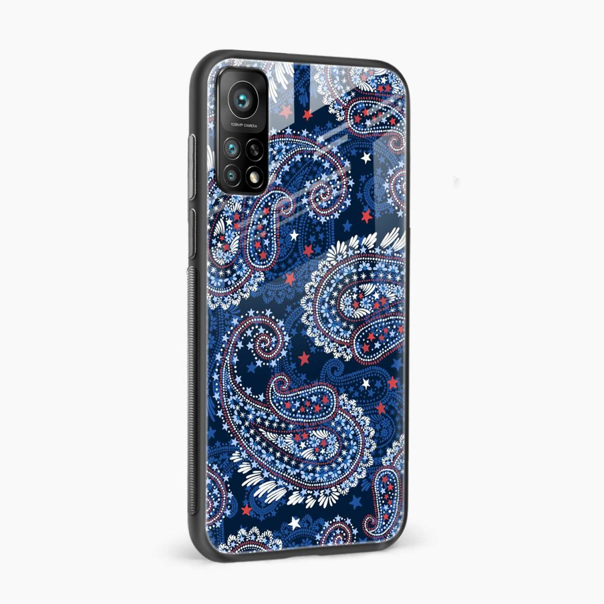 blue colored classical pattern xiaomi mi 10t pro back cover side view