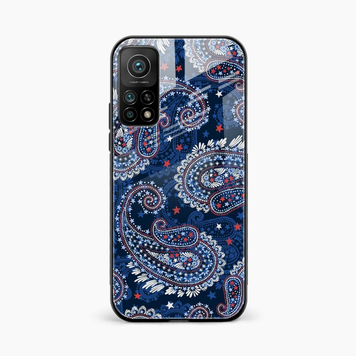 blue colored classical pattern xiaomi mi 10t pro back cover front view