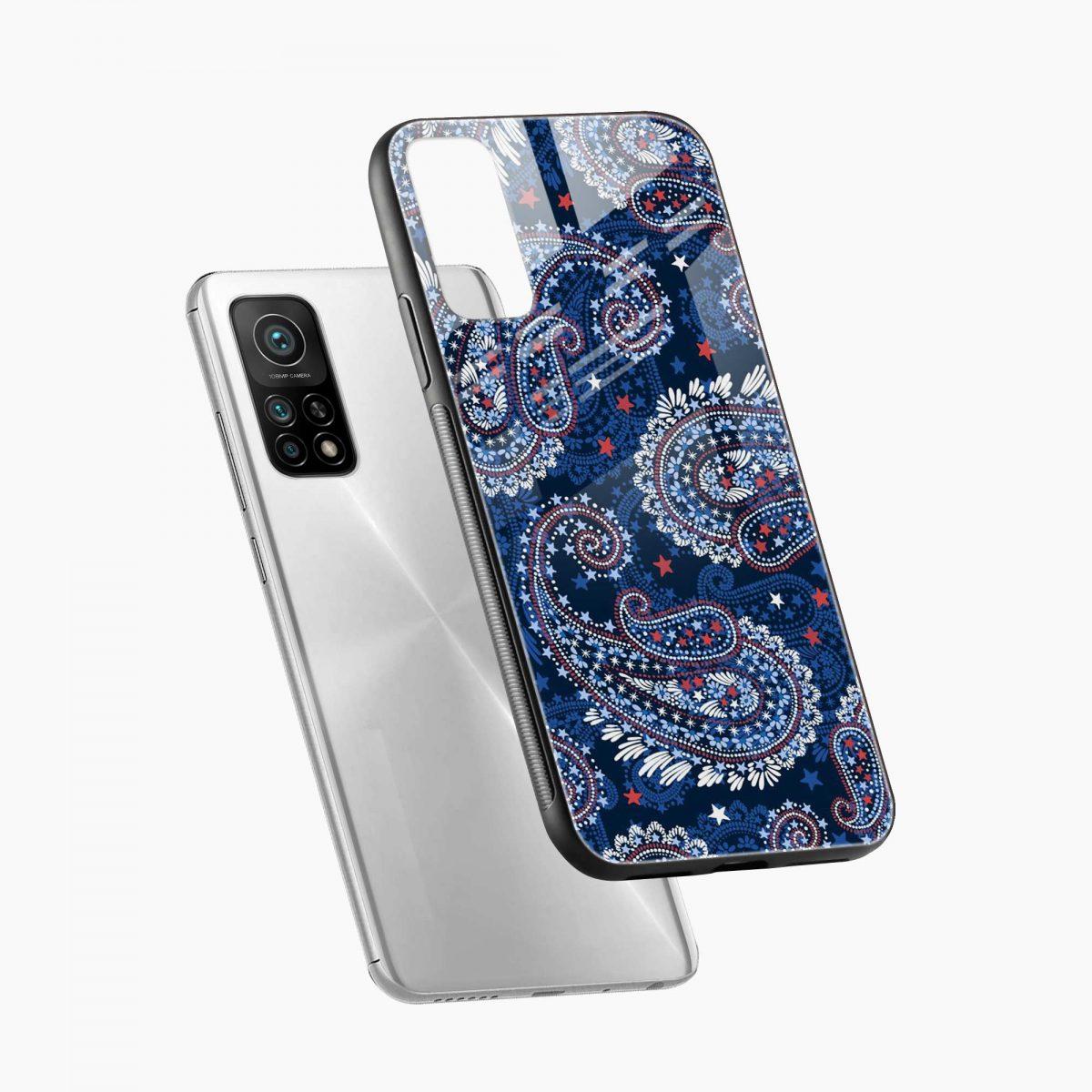blue colored classical pattern xiaomi mi 10t pro back cover diagonal view