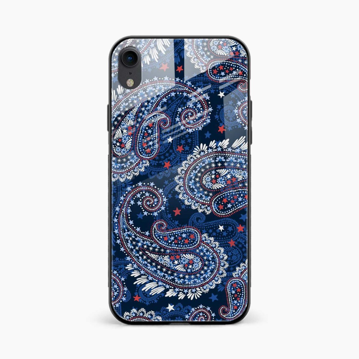 blue colored classical pattern apple iphone xr back cover front view