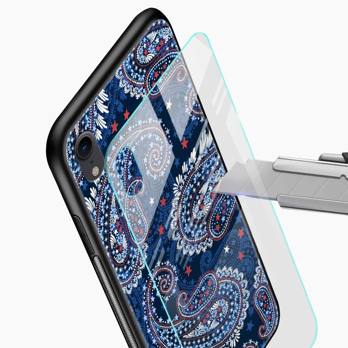 blue colored classical pattern apple iphone xr back cover glass view