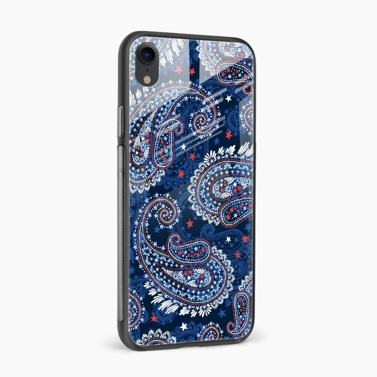 blue colored classical pattern apple iphone xr back cover side view